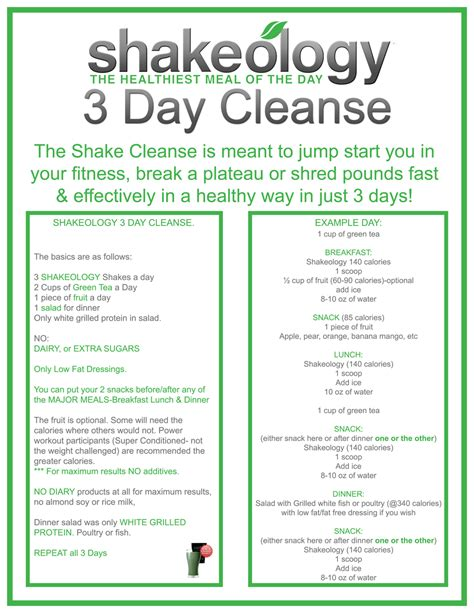 3 Day Detox Pdf 3 day shakeology cleanse get max results