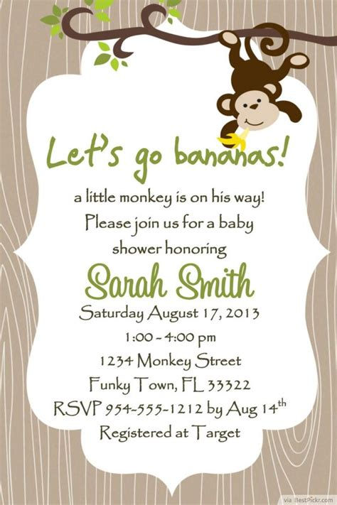 7 printable monkey baby shower invitations bestpickr
