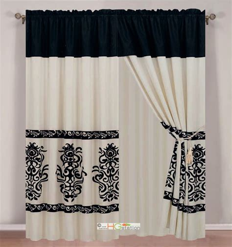 black and off white curtains 4 pc modern damask floral motif curtain set beige off