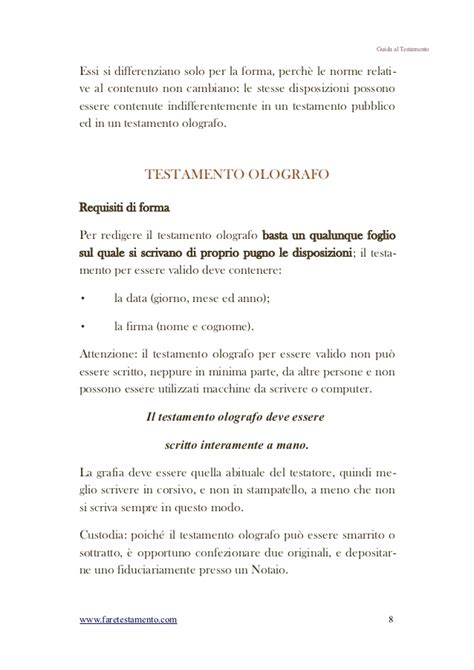modello di testamento olografo guida breve quot come fare testamento quot con esempi pratici