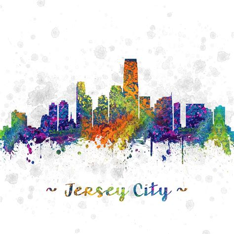 new jersey colors jersey city new jersey skyline color 03sq digital by