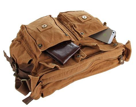 bolsos para hombres de cuero bandolera de hombre de lona y cuero kaki army bolsobag