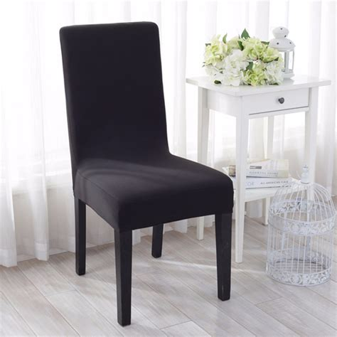 Dining Room Chair Fabric Seat Covers Jacquard Fabric Solid Color Stretch Chair Seat Cover Computer Dining Room Kitchen Decor