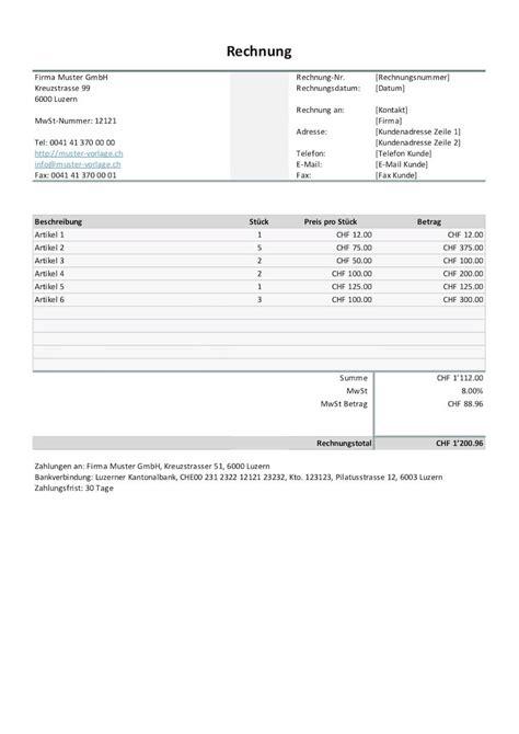 Muster Rechnung Schweiz erfreut handwerker rechnung vorlage zeitgen 246 ssisch