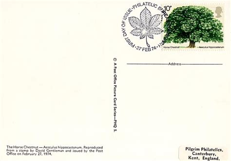 Gb Trees The Chestnut 1974 2nd Isuue commemorative phq cards