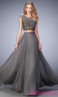 long two piece gray la femme dress promgirl