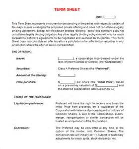 Joint Venture Term Sheet Template by Term Sheet Template 11 Free Documents In Pdf