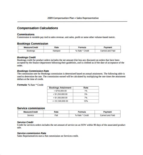 9 Compensation Plan Templates Sle Templates Compensation Template