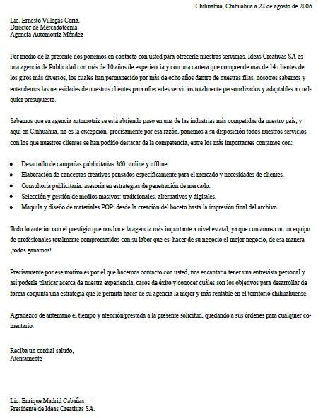 ejemplo de carta de presentacin para una empresa ejemplo de carta de presentaci 243 n de una empresa