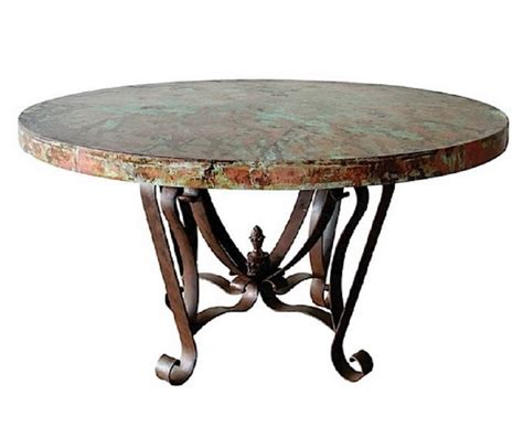 designer hammered copper top dining table wrought iron
