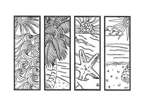 printable ocean bookmarks diy bookmarks printable coloring page instant download