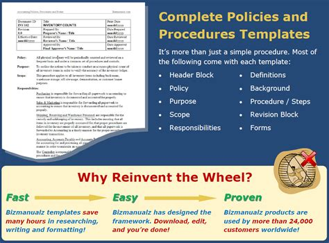 company policy and procedure manual template policies and procedures manuals templates bizmanualz