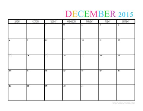 printable christmas december 2015 calendar pdf 2015 monthly calendar templates