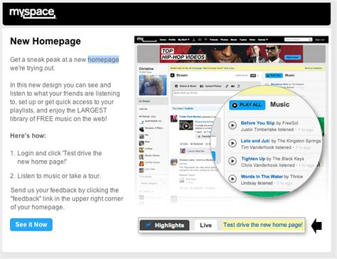 myspace launches new home page