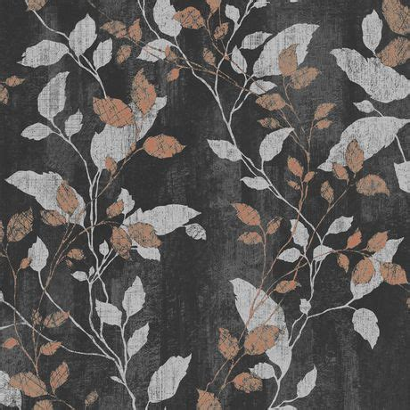 Iv Kartika Bergo Flower Brown graham brown feuille de vermeil noir argent cuivre papier peint amovible walmart canada
