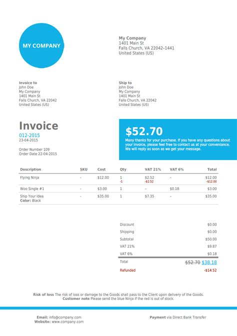 template woocommerce woocommerce pdf invoice template hardhost info