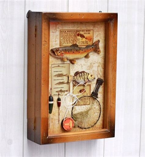 decorative art decor wall hanging wood key shadow box fish