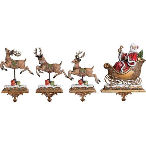 roman 2 pc santa with reindeer stocking holder set do