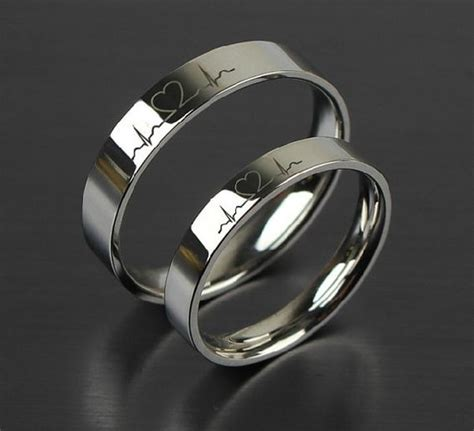 Wedding Bands Couples by 2 Pcs Free Engraving Electrocardiogram Promise Rings
