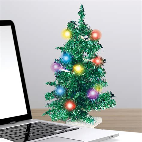 miniature led christmas tree w solar charger deck your desk led usb mini tree dci gift