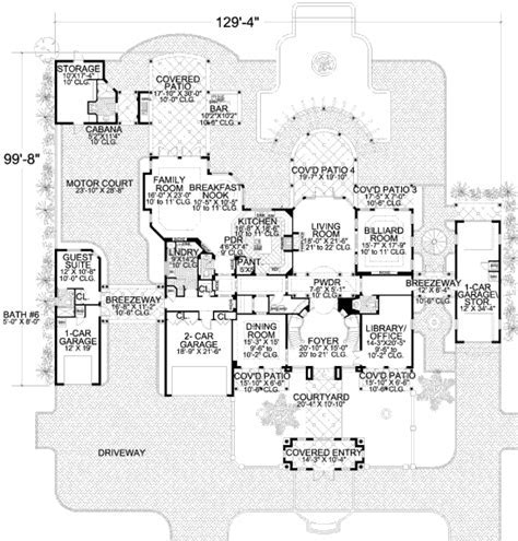 Mediterranean Style House Plan   6 Beds 8 Baths 6904 Sq/Ft