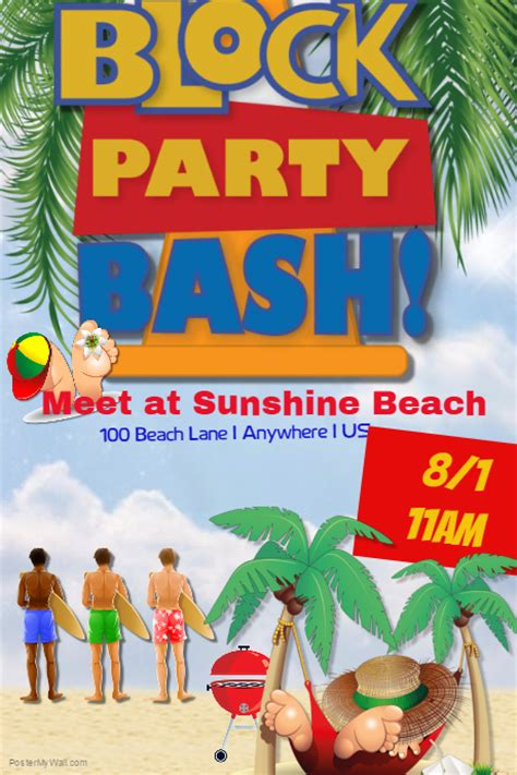 Summer Block Party Bash Template Postermywall Block Flyer Template Summer