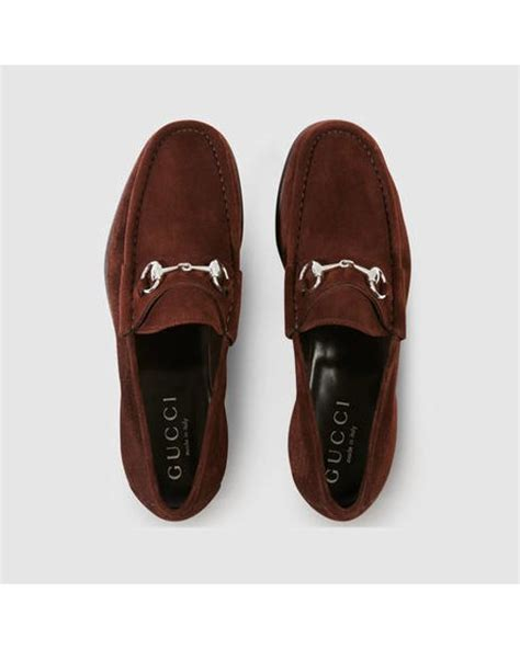 brown suede gucci loafers gucci horsebit suede loafer in brown for lyst