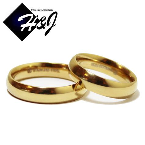 his hers 2 pcs stainless steel 5mm gold plain simple