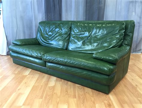 vintage roche bobois green leather sofa sold past