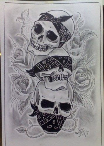 skull bandana tattoo designs hear no see no speak no evil skulls with bandana tattoos