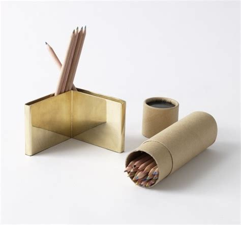 Brass Desk Accessories Colored Pencils Brass Holder Set Modern Desk