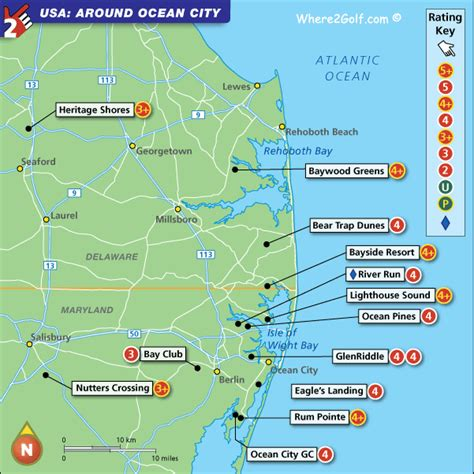 map maryland delaware beaches delaware maryland coast golf map usa top 100 golf