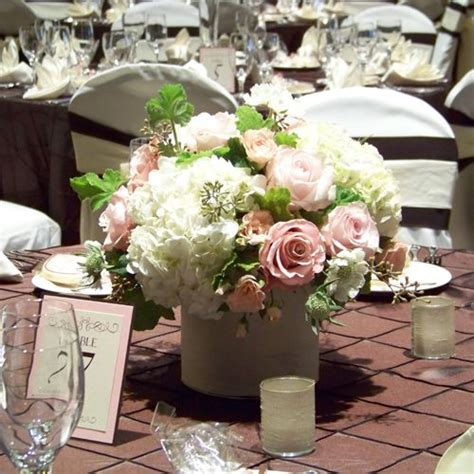 rose hydrangea centerpiece wedding reception pinterest