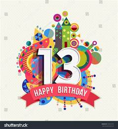 happy birthday thirteen 13 year celebration greeting card with number text label and