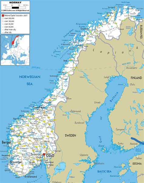 norway europe norway attractions map