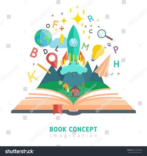 concept picture books book concept flat imagination education symbols stock