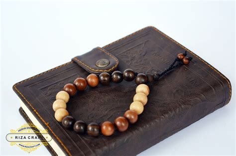 Riza Craft Stigi Laut Tasbih Kayu gelang kayu stigi asli kombinasi ukuran besar 171 jual
