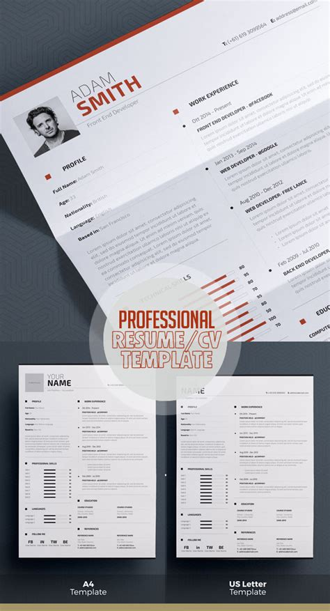 professional indesign templates modern cv resume templates cover letter portfolio page