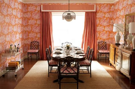 orange dining rooms orange curtains eclectic dining room diane bergeron