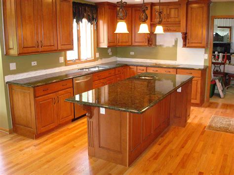 Light Brown Wooden L Shape Kitchen Cabinet With Storage