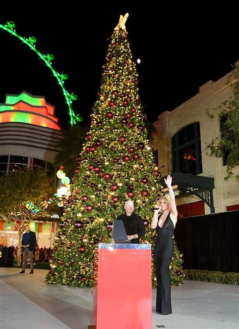 britney spears lights the holiday tree as the linq