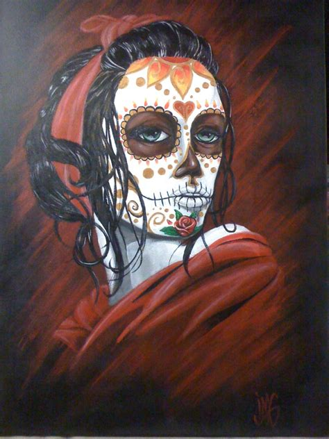 watercolor sugar skull tattoo sugar skull painting jmg creations