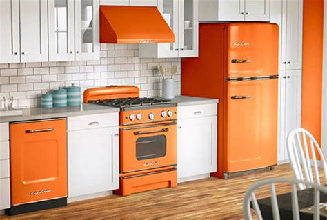 orange kitchen appliances big chill retro appliances