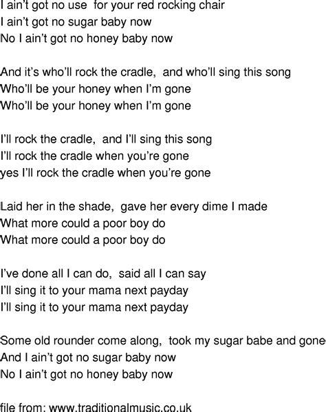 time song lyrics rocking chair