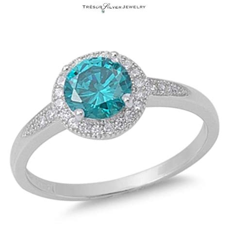 womens blue topaz clear cz 925 silver engagement