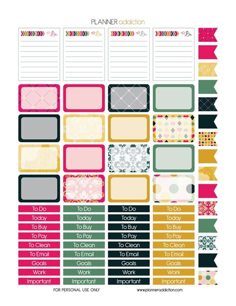 printable notebook stickers glam it planner addiction printable planner stickers