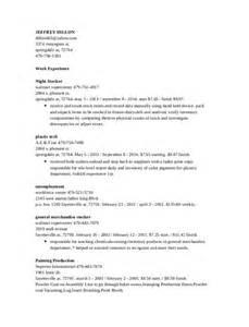 sle resume for overnight stocker stocker resume exles stocker resume resume format
