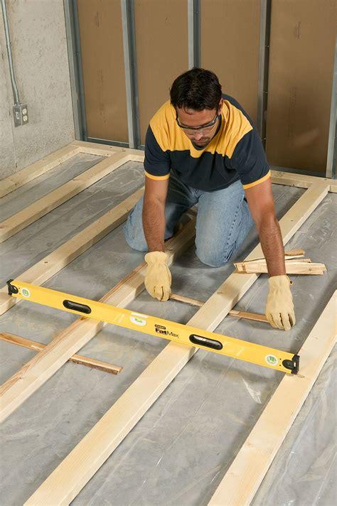 install framing  sleeper floors basement