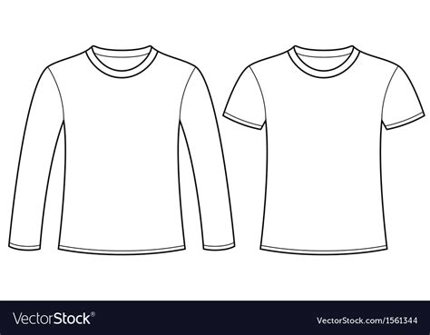 Long Sleeved T Shirt And T Shirt Template Vector Image Sleeve T Shirt Template