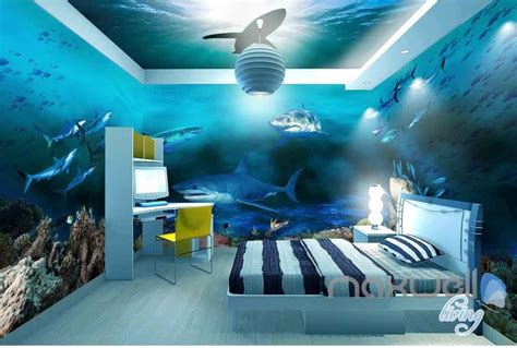 Beach Wall Mural 3d sharks shadow underwater entire room wallpaper wall